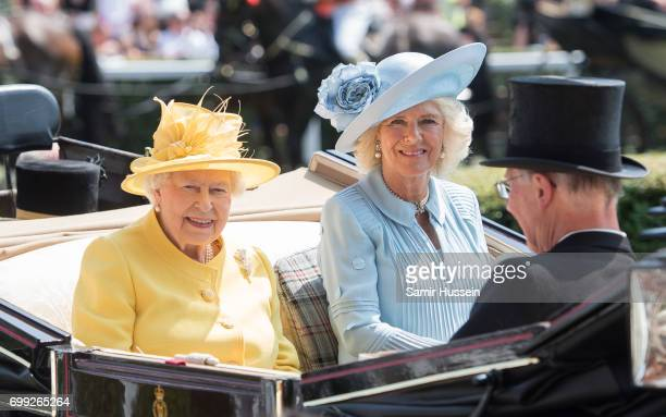 Queen Elizabeth II and Camilla Ducehss of Cornwall arrive by carriage at Royal Ascot 2017 at Ascot Racecourse on June 21 2017 in Ascot England