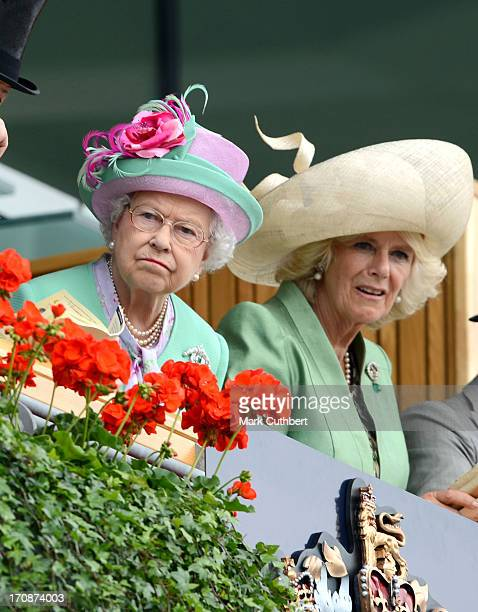 Queen Elizabeth II and Camilla Duchess of Cornwall attend Day 2 of Royal Ascot at Ascot Racecourse on June 19 2013 in Ascot England
