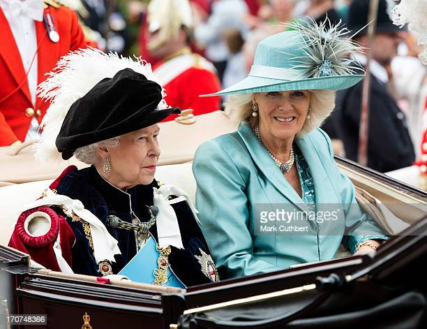 Queen Elizabeth II and Camilla Duchess of Cornwall attend the Order Of The Garter Service at St George's Chapel on June 17 2013 in Windsor England