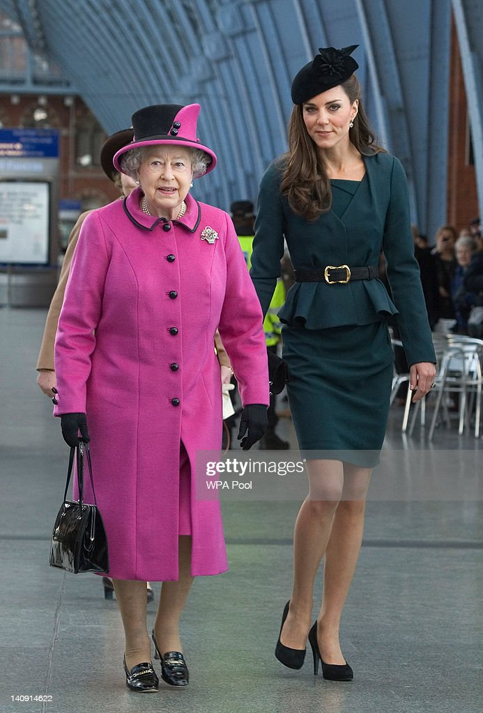 Queen Elizabeth II and <a gi-track='captionPersonalityLinkClicked' href=/galleries/search?phrase=Catherine+-+Duchesse+de+Cambridge&family=editorial&specificpeople=542588 ng-click='$event.stopPropagation()'>Catherine</a>, Duchess of Cambridge (R) arrive at St Pancras station, before boarding a train to visit the city of Leicester, on March 8, 2012 in London, England. The royal visit to Leicester marks the first date of Queen Elizabeth II's Diamond Jubilee tour of the UK between March 8 and July 25, 2012.