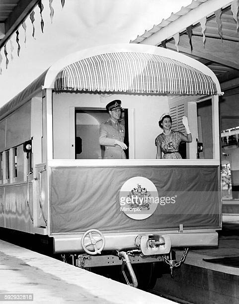 Royal tour of Nigeria 1956 A charming and unusual picture of the Queen and the Duke as the Royal train left Lagos Terminus on Saturday 11th Feb en...
