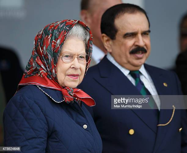 Queen Elizabeth II and Hamad bin Isa AlKhalifa King of Bahrain attend the Endurance event on day 3 of the Royal Windsor Horse Show in Windsor Great...