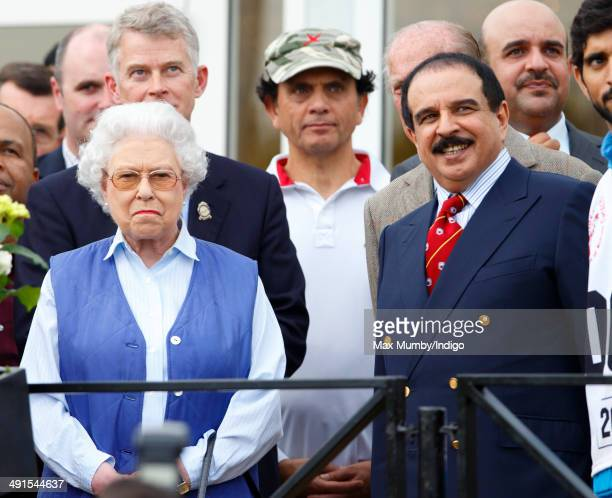 Queen Elizabeth II and Hamad bin Isa AlKhalifa King of Bahrain attend the Royal Windsor Endurance event on day 3 of the Royal Windsor Horse Show in...