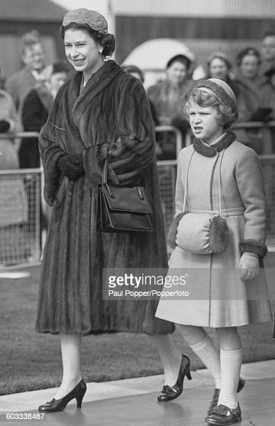 Queen Elizabeth II and her daughter Princess Anne pictured together at London Airport on March 13th 1958