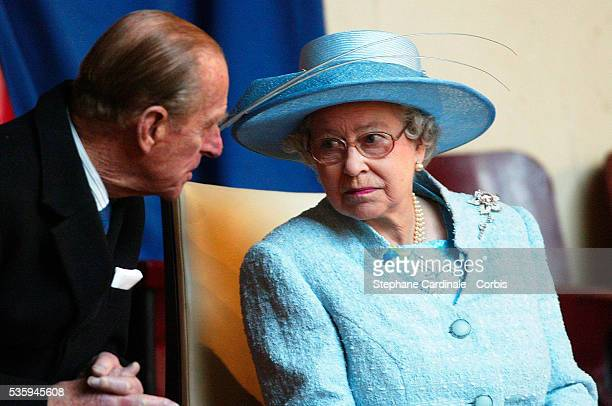 Queen Elizabeth II and her husband Prince Phillip attend a display at the 'Cadre Noir' National Equestrian School The Queen is in France for a...
