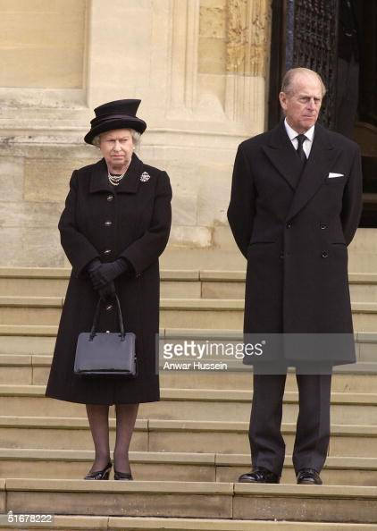 Queen Elizabeth II and her husband the Duke of Edinburgh attend the funeral of Princess Alice Duchess of Gloucester at St George's Chapel Windsor...