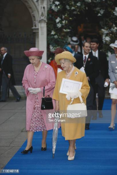 Queen Elizabeth II and her mother The Queen Mother attending the wedding of Viscount Linley and Serena Stanhope at the Church of St Margaret in the...