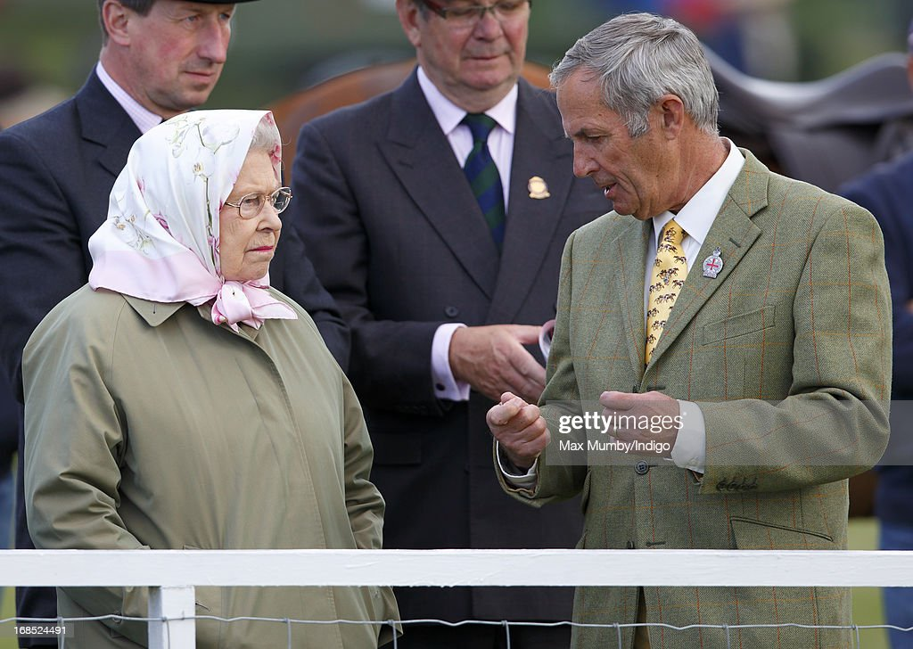 Queen Elizabeth II and her stud groom Terry Pendry watch her horse Barbers Shop win the Tattersalls & Ror Thoroughbred Ridden Show Horse Class on day 3 of the Royal Windsor Horse Show on May 10, 2013 in Windsor, England.