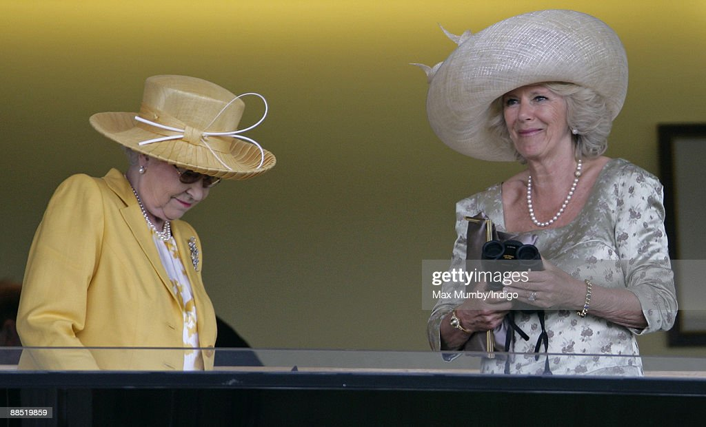 HM Queen <a gi-track='captionPersonalityLinkClicked' href=/galleries/search?phrase=Elizabeth+II&family=editorial&specificpeople=67226 ng-click='$event.stopPropagation()'>Elizabeth II</a> and HRH Camilla Duchess of Cornwall watch the racing as they attend Royal Ascot at Ascot Racecourse on June 16, 2009 in Ascot, England.
