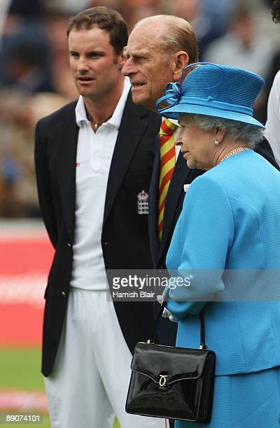 Queen Elizabeth II and HRH Prince Philip Duke of Edinburgh look on with England captain Andrew Strauss during day two of the npower 2nd Ashes Test...