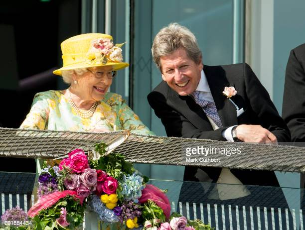 Queen Elizabeth II and John Warren attend Derby day at Epsom Derby festival at Epsom Downs on June 3 2017 in Epsom England