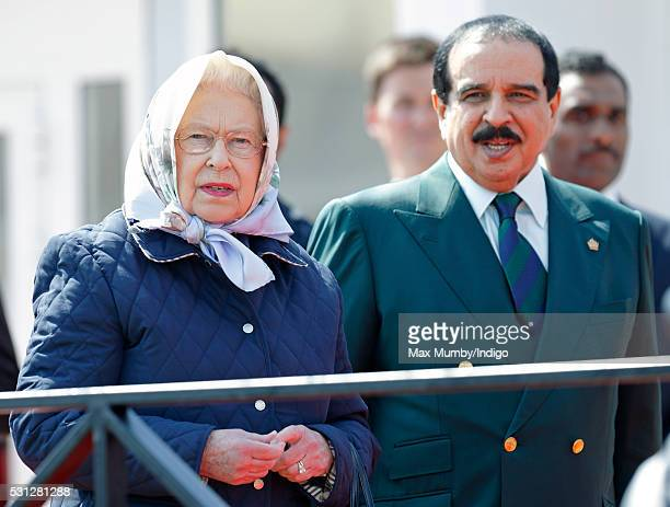 Queen Elizabeth II and King Hamad bin Isa Al Khalifa of Bahrain attend the Royal Windsor Endurance Event on day 3 of the Royal Windsor Horse Show in...