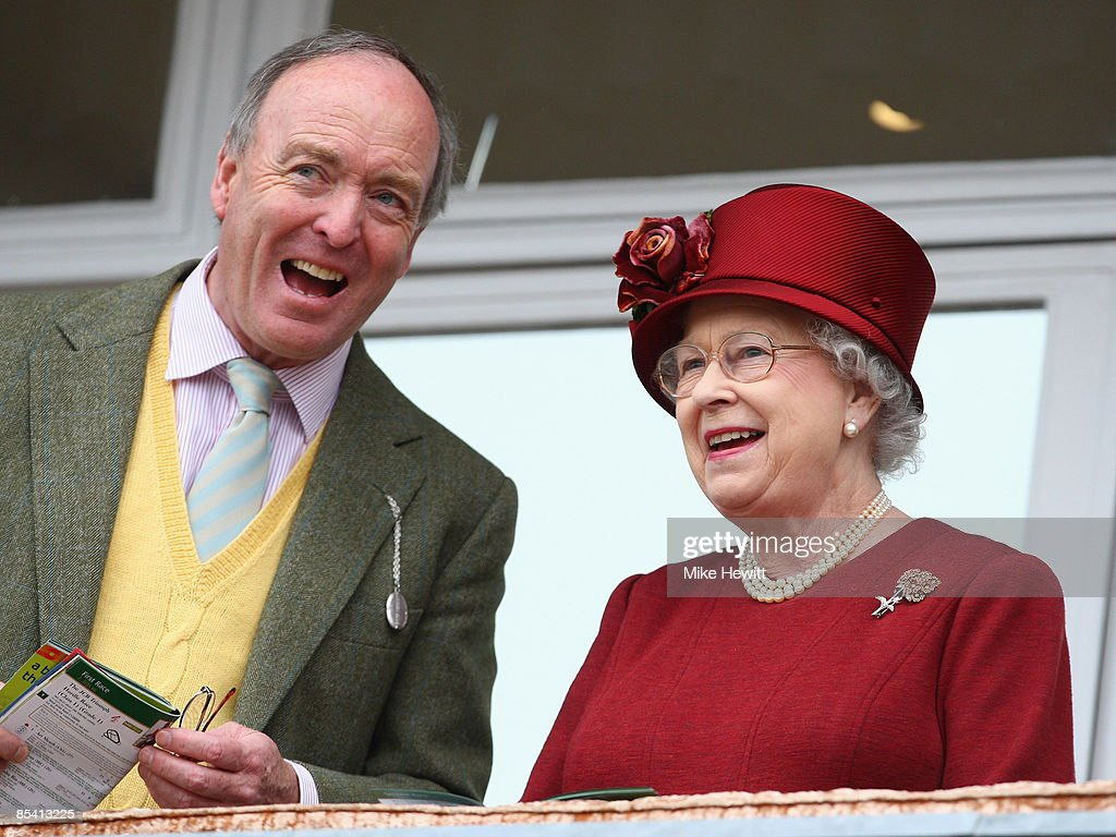 Queen Elizabeth II and Lord Sam Vestey attend Day Four of the Cheltenham Festival at the Cheltenham racecourse on March 13, 2009 in Cheltenham, England.