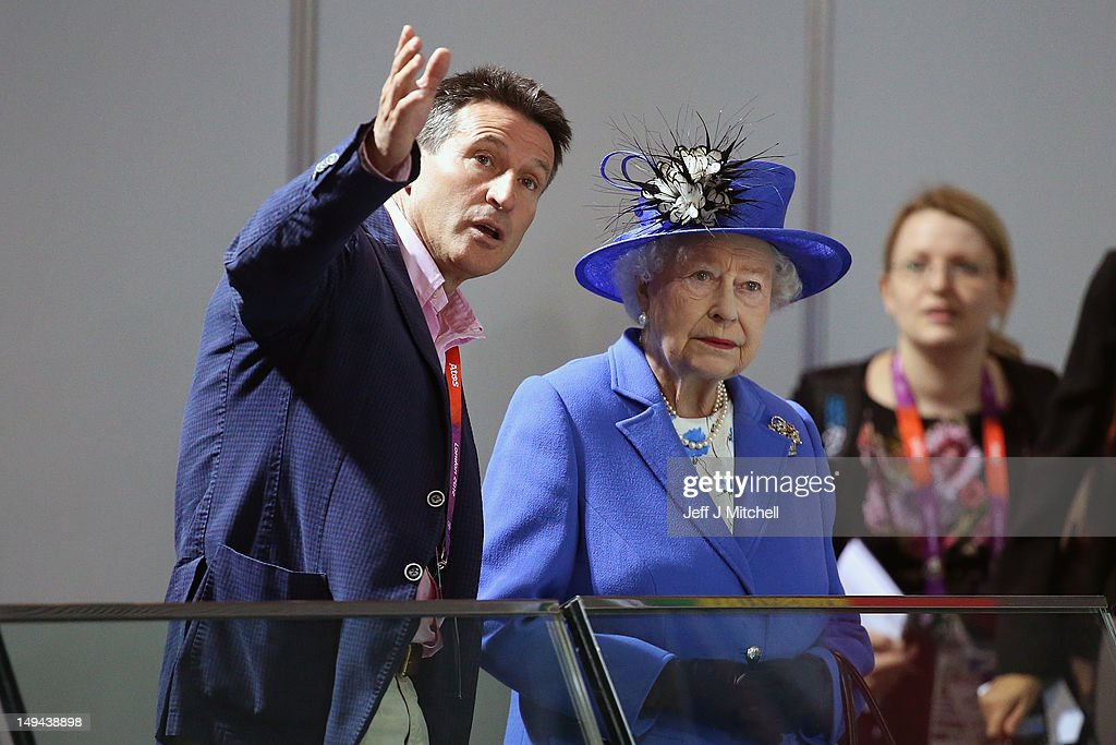 Queen <a gi-track='captionPersonalityLinkClicked' href=/galleries/search?phrase=Elizabeth+II&family=editorial&specificpeople=67226 ng-click='$event.stopPropagation()'>Elizabeth II</a> and Lord <a gi-track='captionPersonalityLinkClicked' href=/galleries/search?phrase=Sebastian+Coe&family=editorial&specificpeople=160624 ng-click='$event.stopPropagation()'>Sebastian Coe</a>, Chairman of the London Organising Committee of the Olympic Games visit the Aquatics Centre on day one of the London 2012 Olympic Games at the Olympic Park on July 28, 2012 in London, England.