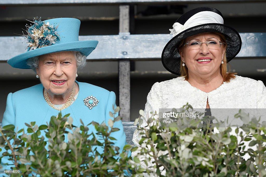 Queen Elizabeth II and President of Malta, Marie-Louise Coleiro Preca visit Marsa racecourse in the outskirts of Valletta on November 28, 2015 in Valletta, Malta.