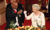 Queen Elizabeth II and President of South Africa Jacob Zuma attend a state banquet at Buckingham Palace on March 3 2010 in London England President...