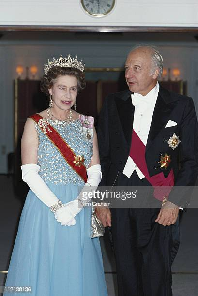 Queen Elizabeth II and President of the Federal Republic of Germany Walter Scheel onboard the Royal Yacht 'Britannia' during a State Visit to West...