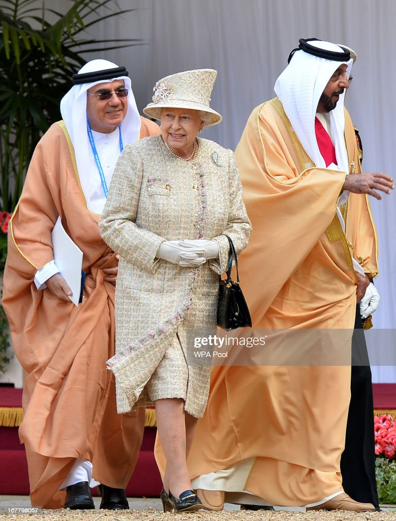 Queen Elizabeth II and President of the United Arab Emirates, His Highness Sheikh Khalifa bin Zayed Al Nahyan leave following a ceremonial welcome in the quadrangle of Windsor Castle on April 30, 2013 in Windsor, England. President Sheikh Khalifa begins a State visit to the UK today, the first for a UEA President in 24 years. Sheikh Khalifa will meet the British Prime Minister David Cameron tomorrow at his Downing Street residence.