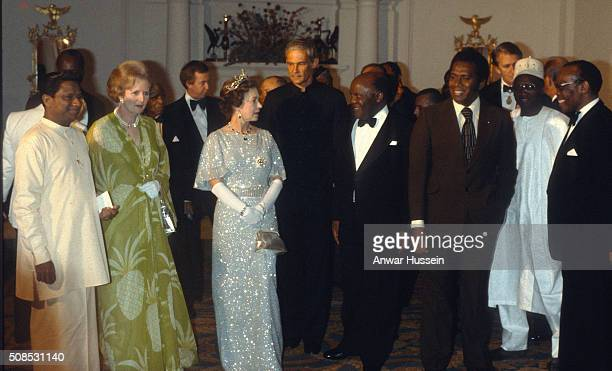 Queen Elizabeth II and Prime Minister Margaret Thatcher attend a ball to celebrate the Commonwealth Heads of Government Conference on October 01 1979...