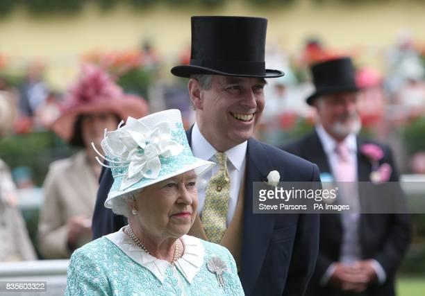 Queen Elizabeth II and Prince Andrew at Ascot Racecourse Berkshire