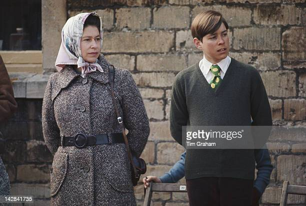 Queen Elizabeth II and Prince Andrew at the Badminton Horse Trials in Gloucestershire 1973
