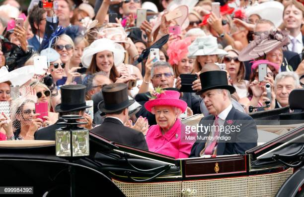 Queen Elizabeth II and Prince Andrew attends day 3 Ladies Day of Royal Ascot at Ascot Racecourse on June 22 2017 in Ascot England