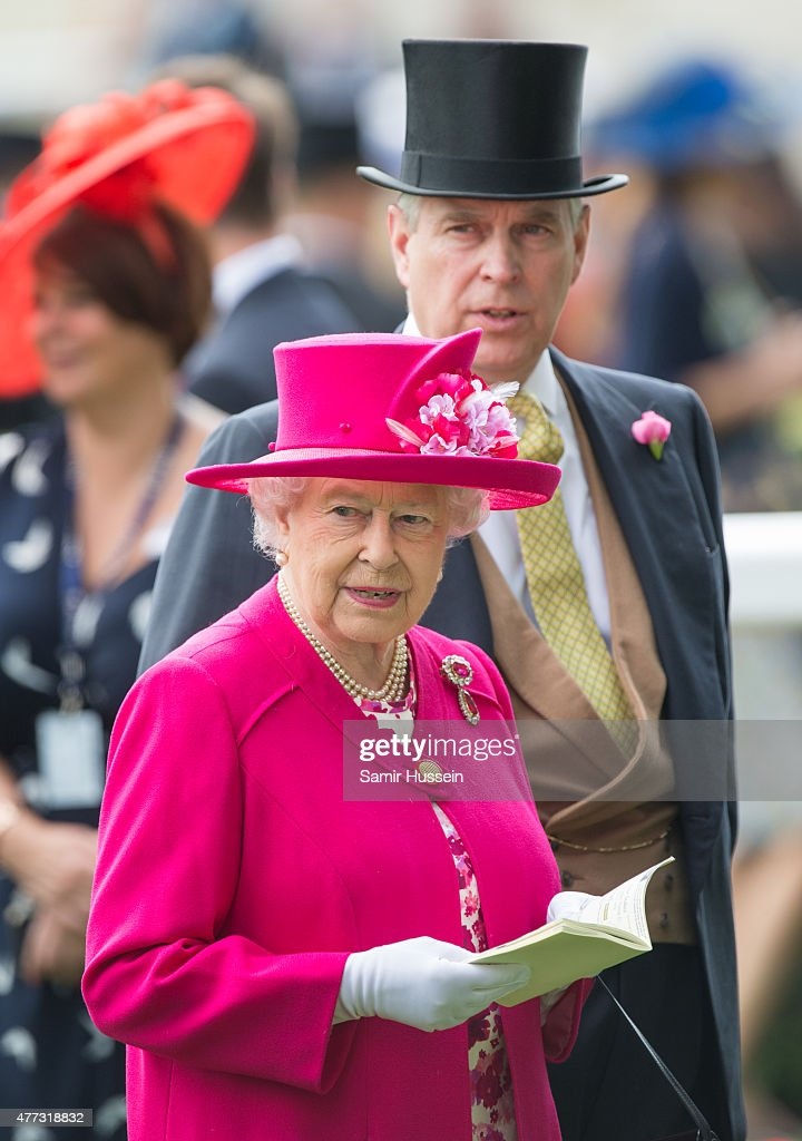 Queen Elizabeth II and Prince Andrew, Duke of York attend day 1 of Royal Ascot at Ascot Racecourse on June 16, 2015 in Ascot, England.