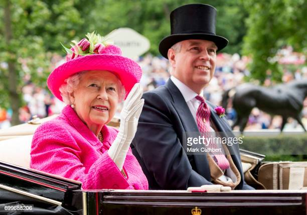 Queen Elizabeth II and Prince Andrew Duke of York attend day 3 'Ladies Day' of Royal Ascot 2017 at Ascot Racecourse on June 22 2017 in Ascot England