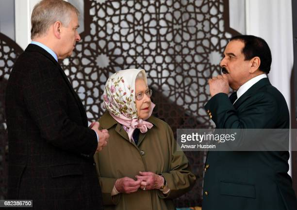 Queen Elizabeth II and Prince Andrew Duke of York with King Hamad bin Isa Al Khalifa of Bahrain attend the Endurance Event at the Windsor Horse Show...