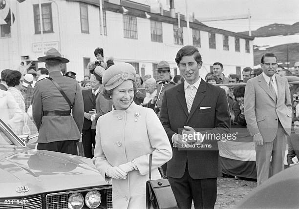 Queen Elizabeth II and Prince Charles arrive at Frobisher Bay on Baffin Island during a visit to Canada July 1970