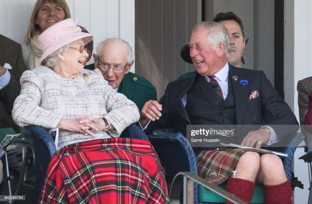 Queen Elizabeth II and Prince Charles, Prince of Wales attend the 2017 Braemar Highland Gathering at The Princess Royal and Duke of Fife Memorial Park on September 2, 2017 in Braemar, Scotland.