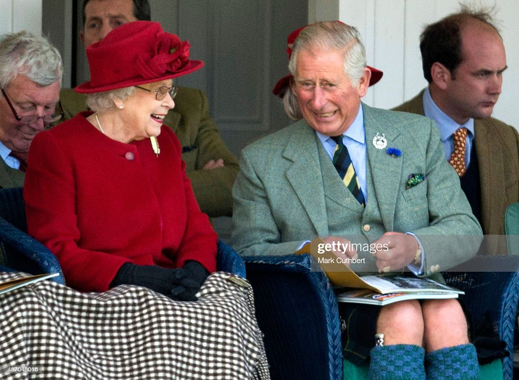 Queen Elizabeth II and Prince Charles, Prince of Wales attend the Braemar Gathering on September 5, 2015 in Braemar, Scotland. There has been an annual gathering at Braemar, in the heart of the Cairngorms National Park, for over 900 years. The current gathering, in the form of a Highland Games and run by the Braemar Royal Highland Society (BRHS), takes place on the first Saturday in September and sees competitors in Running, Heavy Weights, Solo Piping, Light Field and Solo Dance watched by around 16000 spectators. This year the BRHS commemorate their bi-centenary. Members of the Royal family often attend the event and Her Majesty the Queen is Chieftain of the Braemar Gathering.