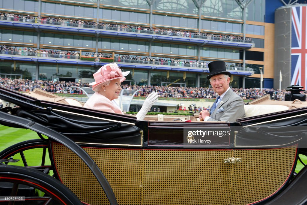 Queen Elizabeth II and Prince Charles, Prince of Wales attends Day 1 of Royal Ascot at Ascot Racecourse on June 18, 2013 in Ascot, England.