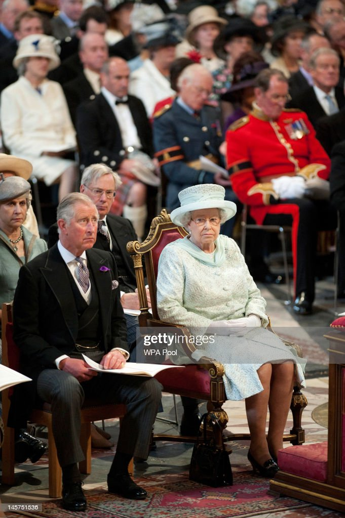 Queen <a gi-track='captionPersonalityLinkClicked' href=/galleries/search?phrase=Elizabeth+II&family=editorial&specificpeople=67226 ng-click='$event.stopPropagation()'>Elizabeth II</a> and <a gi-track='captionPersonalityLinkClicked' href=/galleries/search?phrase=Prince+Charles+-+Prince+of+Wales&family=editorial&specificpeople=160180 ng-click='$event.stopPropagation()'>Prince Charles</a>, Prince of Wales during a service of thanksgiving to mark the Queen's Diamond Jubilee at St Paul's cathedral on June 5, 2012 in London, England. For only the second time in its history the UK celebrates the Diamond Jubilee of a monarch. Her Majesty Queen <a gi-track='captionPersonalityLinkClicked' href=/galleries/search?phrase=Elizabeth+II&family=editorial&specificpeople=67226 ng-click='$event.stopPropagation()'>Elizabeth II</a> celebrates the 60th anniversary of her ascension to the throne today with a carriage procession and a service of thanksgiving at St Paul's Cathedral.