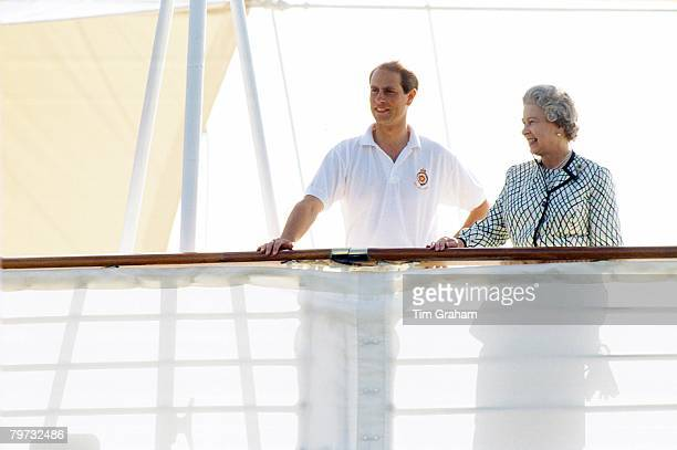 Queen Elizabeth II and Prince Edward Earl of Wessex leave for their holidays aboard Royal Yacht Britannia