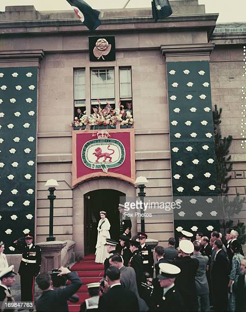 Queen Elizabeth II and Prince Philip are greeted in Hobart Tasmania during their Commonwealth Tour of Australia 1954