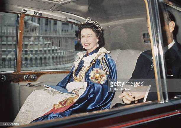 Queen Elizabeth II and Prince Philip attend a service for the Order of St Michael and St George at St Paul's Cathedral London 24th July 1968 The...