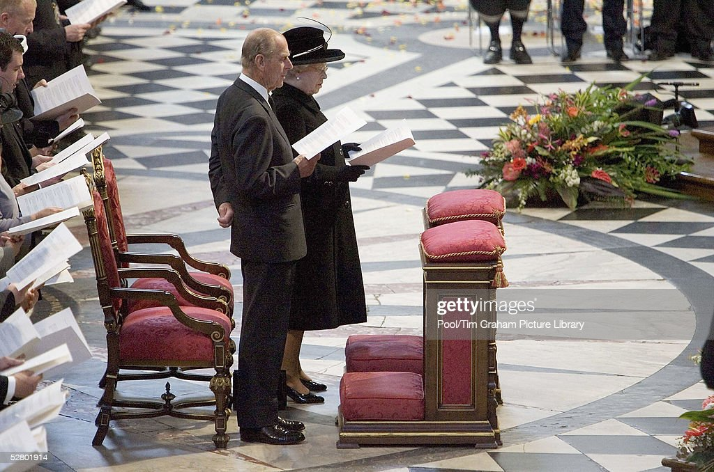 Queen Elizabeth II and Prince Philip attend the Remembrance Service for tsunami victims at St Paul's Cathedral on May 11, 2005 in London, England. Relief agencies, family members of UK victims and leaders of UK communities and faiths with close ties to the affected countries are invited to the event. The tsunami killed an estimated 300,000 people in late December last year, including more than 80 Britons.