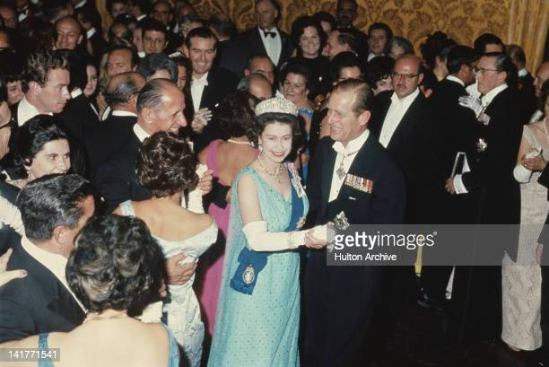 Queen Elizabeth II and Prince Philip dancing at a state ball at the palace in Valletta during a Commonwealth Visit to Malta 16th November 1967