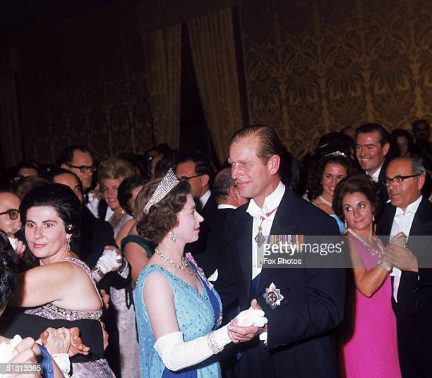 Queen Elizabeth II and Prince Philip dancing at a state ball at the palace in Valletta during a royal visit to Malta 16th November 1967