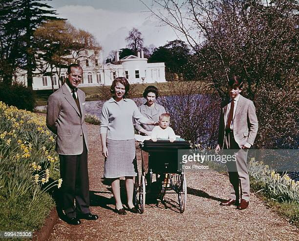 Queen Elizabeth II and Prince Philip Duke of Edinburgh and their children at Windsor on the Queen's 39th birthday April 1965 Left to right Prince...