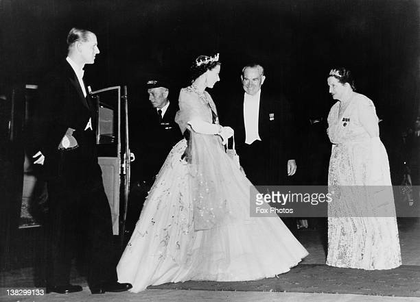 Queen Elizabeth II and Prince Philip Duke of Edinburgh are greeted by Premier of New South Wales Joseph Cahill and his wife Esmey before a State...