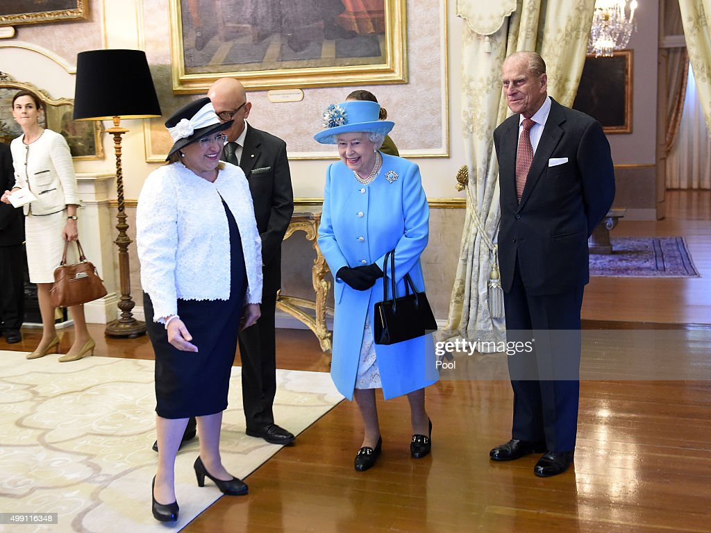 Queen Elizabeth II and Prince Philip, Duke of Edinburgh are greeted by the President of Malta, Marie-Louise Coleiro Preca at San Anton Palace on November 28, 2015 in Valletta, Malta.