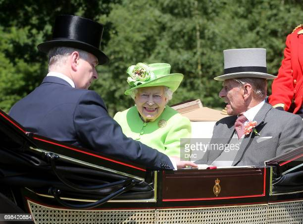 Queen Elizabeth II and Prince Philip Duke of Edinburgh are seen driving to Royal Ascot 2017 at Ascot Racecourse on June 20 2017 in Ascot England