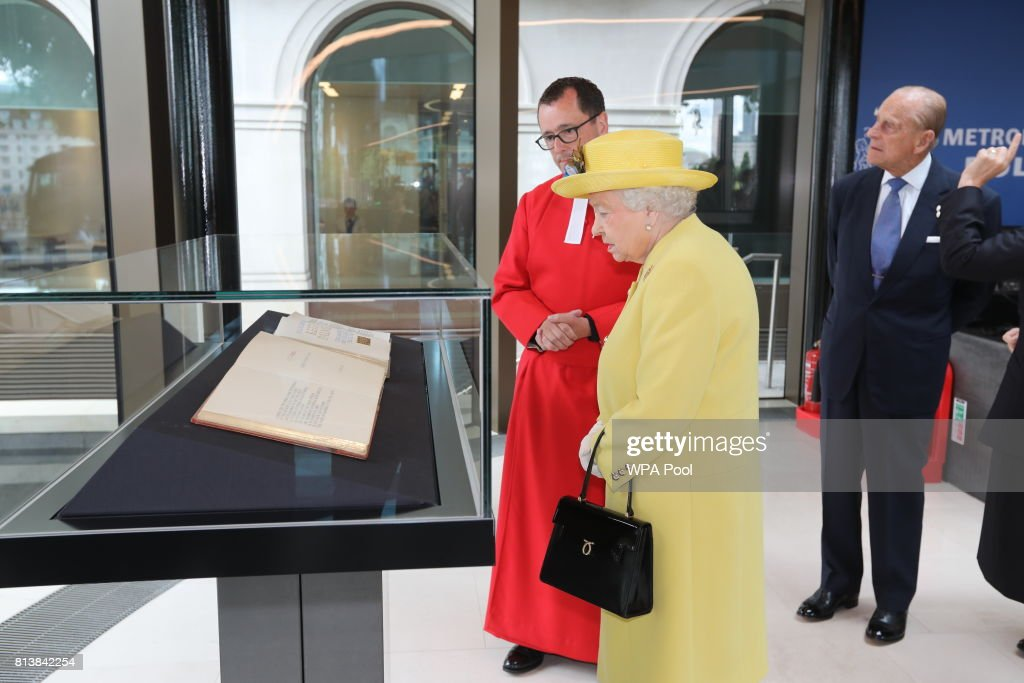 Queen Elizabeth II and Prince Philip, Duke of Edinburgh are shown a tribute to PC Keith Palmer, who was killed in the Westminster Terror Attack in March 2017, as she attends the opening of the the new headquaters of the Metropolitan Police Service on July 13, 2017 in London, England.