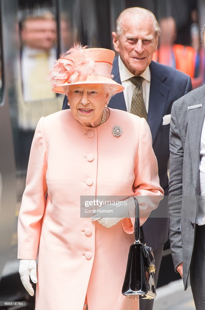 Queen Elizabeth II and Prince Philip, Duke of Edinburgh arrive at Paddington station by train to mark the 175th anniversary of the first train journey by a British Monarch on June 13, 2017 in London, United Kingdom. The first journey was made by Queen Victoria on June 13th, 1842.