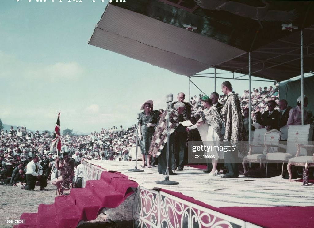 Queen Elizabeth II and Prince Philip Duke of Edinburgh arrive at Arawa Park Racecourse Rotorua on their Commonwealth Visit to New Zealand 1954