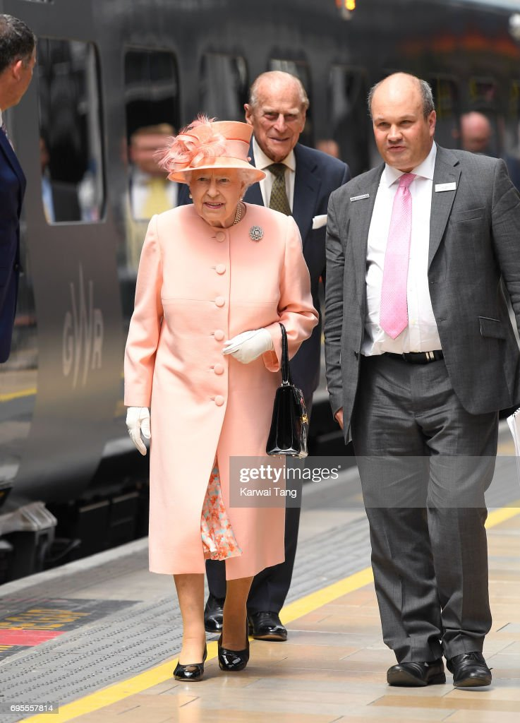Queen Elizabeth II and Prince Philip, Duke of Edinburgh arrive at Paddington Station to name a new train 'Queen Elizabeth ll' to mark the 175th anniversary of the first train journey by a British Monarch on June 13, 2017 in London, United Kingdom. The first journey was made by Queen Victoria on June 13th, 1842.