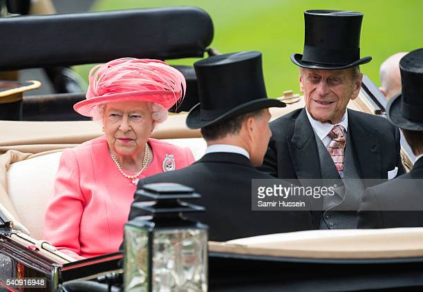 Queen Elizabeth II and Prince Philip Duke of Edinburgh arrive by carriage on day 4 of Royal Ascot at Ascot Racecourse on June 17 2016 in Ascot England