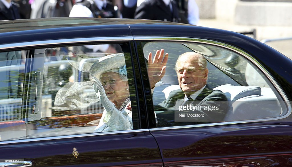 Queen <a gi-track='captionPersonalityLinkClicked' href=/galleries/search?phrase=Elizabeth+II&family=editorial&specificpeople=67226 ng-click='$event.stopPropagation()'>Elizabeth II</a> and <a gi-track='captionPersonalityLinkClicked' href=/galleries/search?phrase=Prince+Philip&family=editorial&specificpeople=92394 ng-click='$event.stopPropagation()'>Prince Philip</a>, Duke of Edinburgh arrive for a service marking the 60th anniversary of the Queen's coronation at Westminster Abbey on June 4, 2013 in London, England.